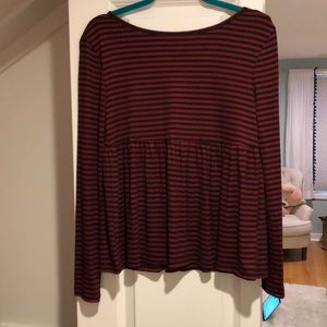 Kimchi Blue red and blue striped peplum top